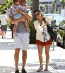 Mason Disick with mommy Kourtney Kardashian and daddy Scott Disick this afternoon in Los Angeles, Ca on August 13, 2011