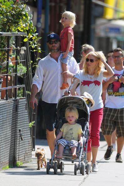 Naomi Watts and Liev Schreiber with their children Alexander and Samue