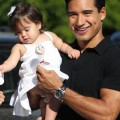 Mario Lopez leaves a private party with girlfriend Courtney Mazza and baby Gia Francesca Lopez.