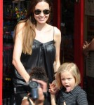 Angelina Jolie going to the toy shop with her kids in Richmond, London, England on August 15th, 2011.