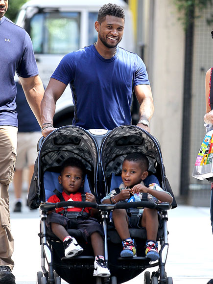 Usher Out In NYC With His Sons Usher V & Naviyd - August 3