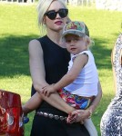 Gwen Stefani is seen with her son Zuma Rossdale at a park in Los Angeles.