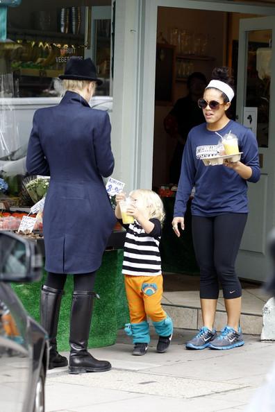 Gwen Stefani takes her son Zuma Nesta Rock and his nanny for a snack in Primrose Hill.