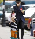 Gwen Stefani takes her son Zuma Nesta Rock and his nanny for a snack in Primrose Hill.