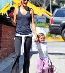 Alessandra Ambrosio and daughter Anja Mazur walking in Santa Monica.