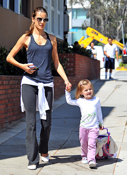 Alessandra Ambrosio and daughter Anja Mazur walking in Santa Monica.