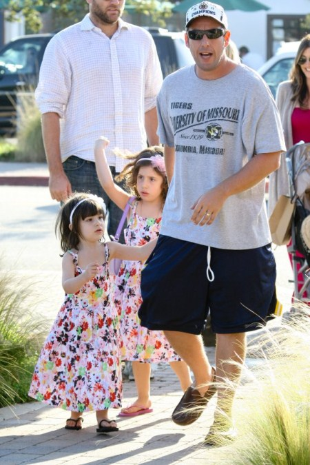 Adam Sandler out with his Matching Daughters Sadie and Sunny