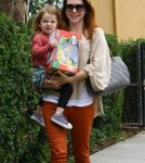 Actress Alyson Hannigan takes daughter Satyana after lunch with her dad to get a new toy in Beverly Hills, Ca on September 17, 2011.
