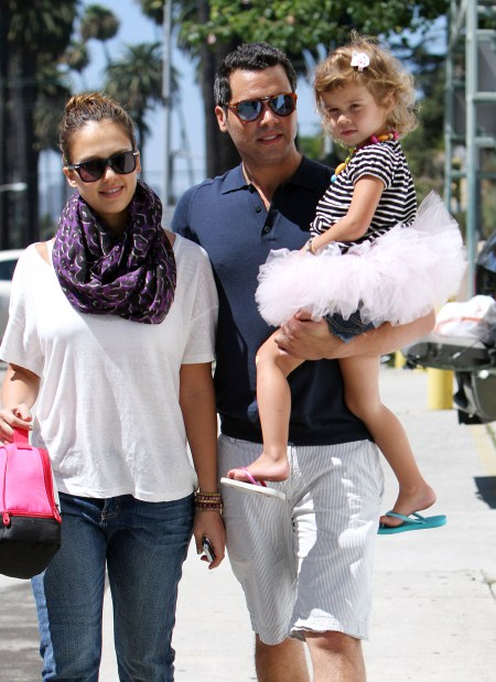 Jessica Alba and husband Cash Warren take their tutu wearing daughter Honor Warren out to brunch