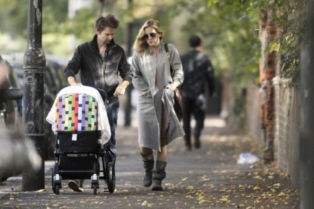 Kate Hudson and Matt Bellamy take baby Bingham Hawn Bellamy for a stroll in North London