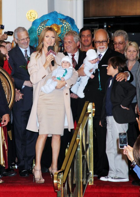 Celine Dion is welcomed back to Las Vegas, NV on February 16, 2011 where she arrived with husband Rene Angelil, son Rene-Charles and the newest additions to their family, twins Nelson and Eddie Angelil.