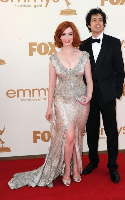 Christina Hendircks and Geoffrey Arend at the Emmy's 2011