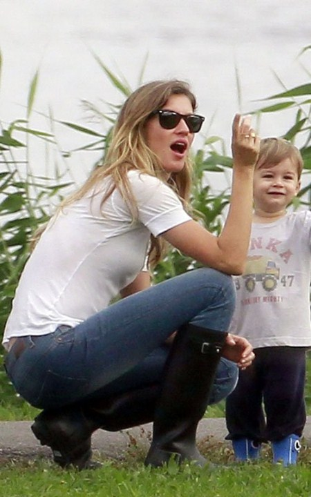 Gisele Bundchen And Son Have Fun By The River