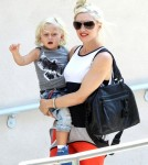 Singer Gwen Stefani and son Zuma out on her wedding anniversary in Studio City, CA.