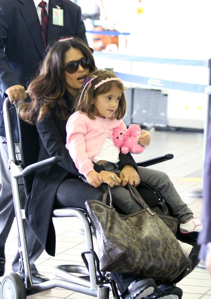 Salma Hayek and Valentina Take A Wheelchair Ride
