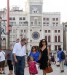 Salma Hayek and Francois-Henri Pinault with their daughter Valentina in piazza San Marco, Venice.