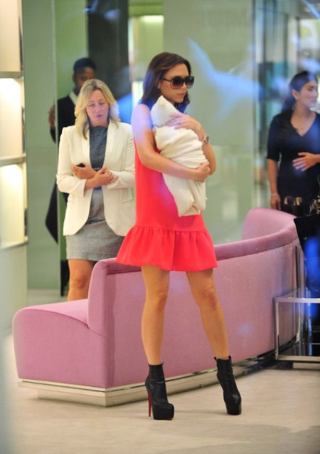 Victoria Beckham and Daughter Harper Shopping at Prada Boutique NYC