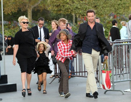 Hugh Jackman with wife Deborra-Lee Furness and children Ava and Oscar in Paris