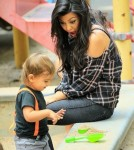 Kourtney Kardashian and Son Mason at the Park in NYC