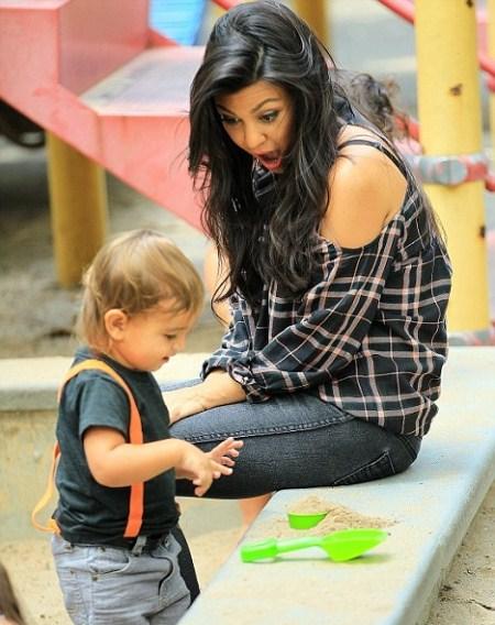 Kourtney Kardashian and Son Mason at the Park in NYC