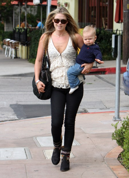 Ali Larter arrives at a clinic in Brentwood, California on September 26, 2011 with her adorable son Theodore MacArthur.