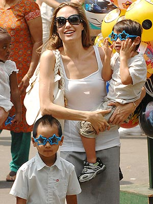 Angelina Jolie and Son Maddox and Pax