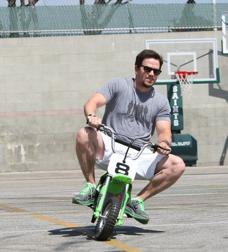 Cute Daddy Alert: Mark Wahlberg Rides a Mini Motorbike With Son