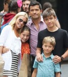 Kelly Ripa and Mark Consuelos pose with their children, 14-year-old Joseph, 10-year-old Lola and eight-year-old Joaquin in New York