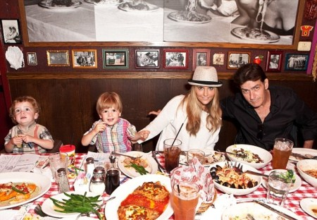Charlie Sheen Spends His Birthday With His Children and PHOTOGS!