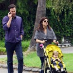 Tiffani Thiessen goes for a walk with husband Brady Smith and daughter Harper Smith on September 17, 2011 in Los Angeles, CA.