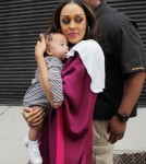 Tia Mowry at the Wendy Williams show with baby Cree Hardrict in NYC, NY on September 27, 2011.