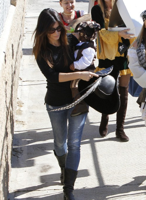 Sandra Bullock dressed up her baby boy, Louis, for a pirate-themed birthday party in Brentwood, California on October 9, 2011.