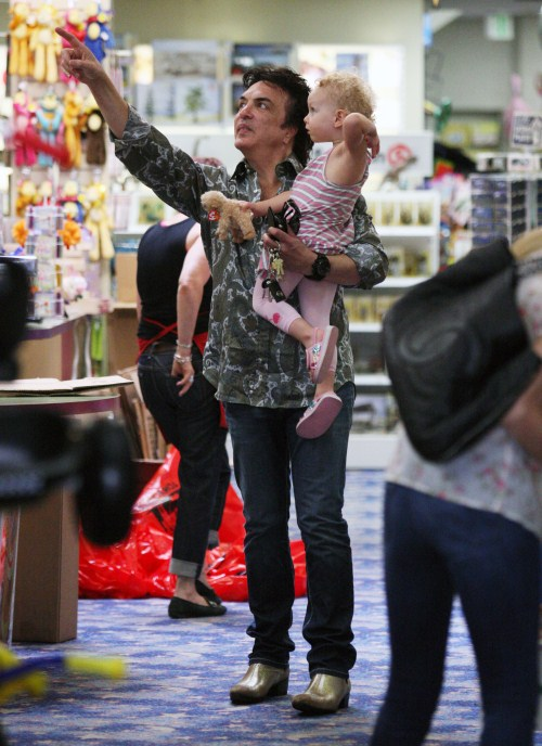 Paul Stanley, founder and front man of Kiss, took wife Erin Sutton and daughter Sarah Brianna to a toy store in Los Angeles, California on October 18, 2011.