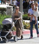 Jessica Alba and her husband Cash Warren arrived at the park in Los Angeles, California on October 9, 2011 with daughters Honor and Haven Garner.