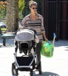 Jessica Alba and husband Cash Warren take their daughters Honor and Haven to the park before having lunch at the Cabbage Patch restaurant