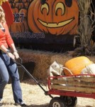 Allison Sweeney takes family to pumpkin patch for the day in Los Angles, Ca on October 8, 2011