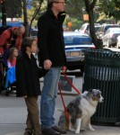 Paul Bettany and his son Stellan made their way home with the family dog in New York City, New York on October 23, 2011.