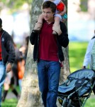 "Actor Jason Bateman and his daughter Nora go to a park during a break from filming of ""The Baster"". Nora is Jason's first child with wife Amanda Anka"