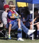 David Beckham enjoyed a day at the park in Los Angeles, California with his boys Brooklyn, Romeo and Cruz during their soccer tournaments on October 9, 2011.