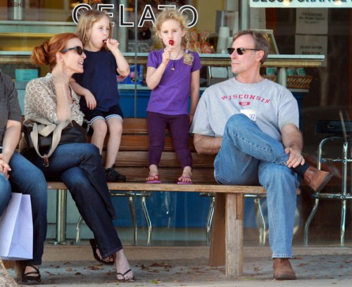 Marcia Cross spends time with her family, including husband Tom Mahoney and twin daughters Eden and Savannah in Santa Monica