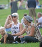 Gwen Stefani at the park with her son Zuma and his nanny in London.