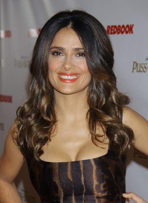 Salma Hayek looks lovely as she attends the NY premiere of Puss in Boots in NYC, NY on October 24, 2011.