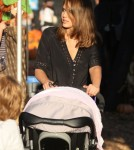 Jessica Alba at Mr. Bones Pumpkin Patch in Los Angeles, California on October 17, 2011 with her daughters Honor and Haven Warren.
