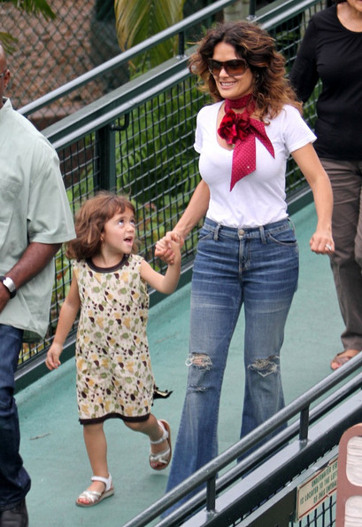 Salma Hayek and Valentina at the Miami Seaquarium