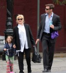 Hugh Jackman joined his wife Deborra-Lee Furness during her morning stroll to school with their daughter Ava on October 12, 2011 in New York City,