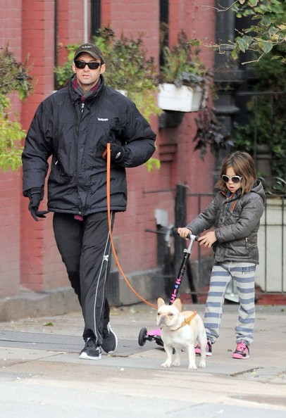 Hugh Jackman Taking His Daughter Ava To School In New York