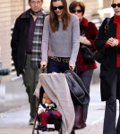 Orlando Bloom and Miranda Kerr show off their baby son Flynn while out and about in NYC