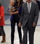 Miranda Kerr and Flynn arrive at JFK Airport in New York City on Sunday (October 16).