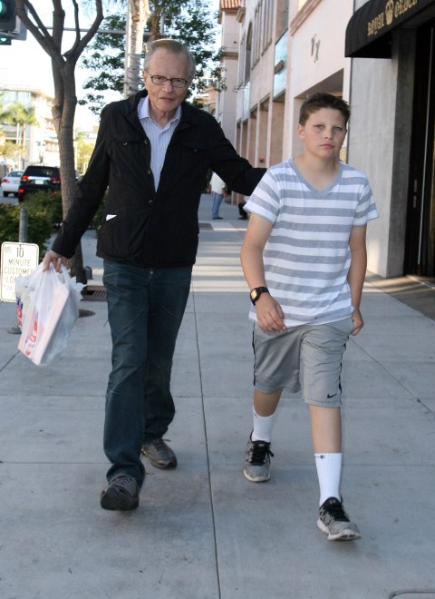 Larry King runs errands with his son Cannon King in Los Angeles, CA on October 27, 2011.