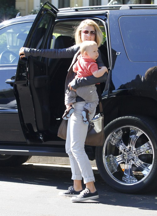 Ali Larter was spotted with her new son Teddy heading to a 'Mommy and Me' class in Los Angeles,